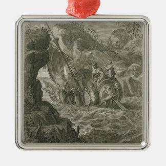 The Argonauts Pass the Symplegades (engraving) Silver-Colored Square Decoration