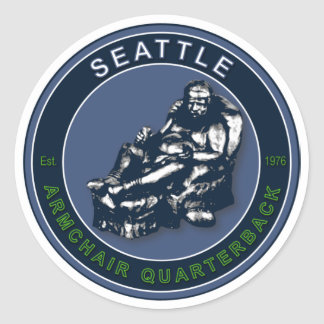 The Armchair Quarterback - Seattle Football Classic Round Sticker