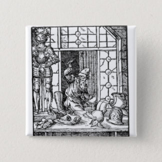 The Armour Maker, engraved by Hartman Schopper 15 Cm Square Badge