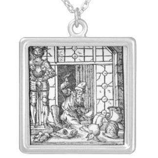 The Armour Maker, engraved by Hartman Schopper Silver Plated Necklace