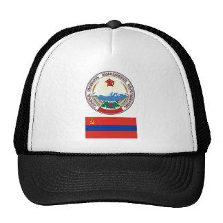 The arms and flag the Armenian Soviet Socialist Cap