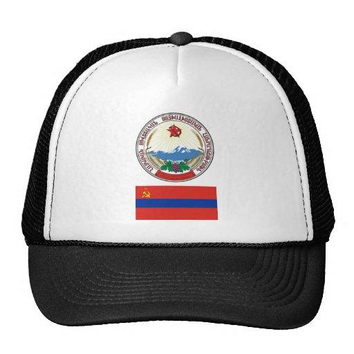 The arms and flag the Armenian Soviet Socialist Trucker Hats