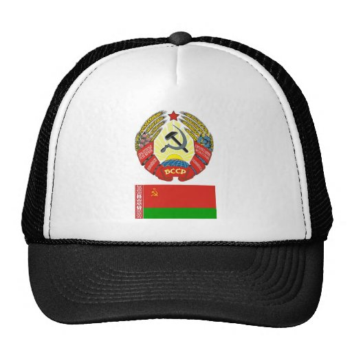 The arms and flag the Belarus Soviet Socialist Rep Hats