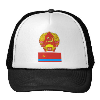 The arms and flag the Kazakh Soviet Socialist Rep Mesh Hats