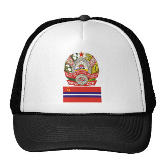 The arms and flag the Kirghiz Soviet Socialist Rep Hat