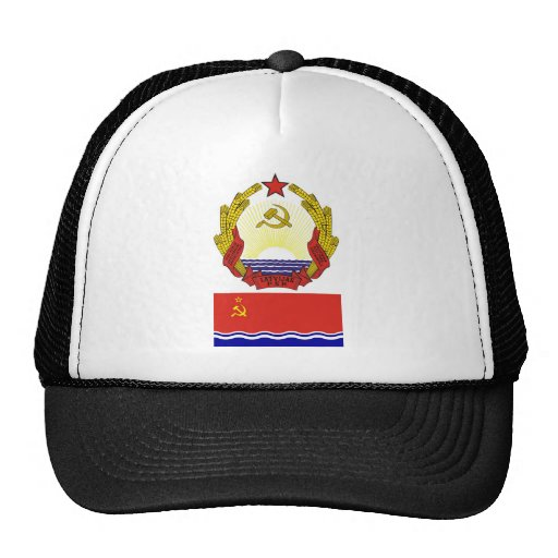 The arms and flag the Latvian Soviet Socialist Rep Trucker Hat