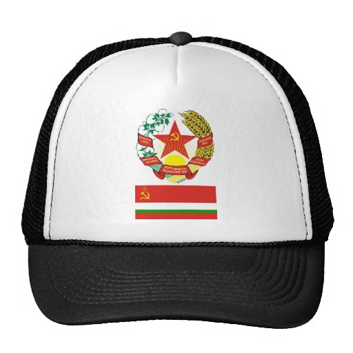 The arms and flag the Tadjik Soviet Socialist Rep Trucker Hat