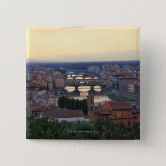 The Arno River and Ponte Vecchio in Florence, 15 Cm Square Badge