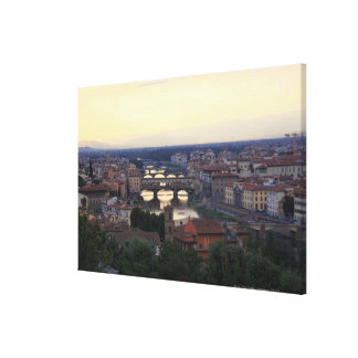 The Arno river and Ponte Vecchio in Florence, Canvas Print