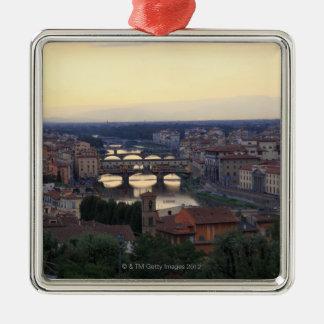 The Arno river and Ponte Vecchio in Florence, Silver-Colored Square Decoration