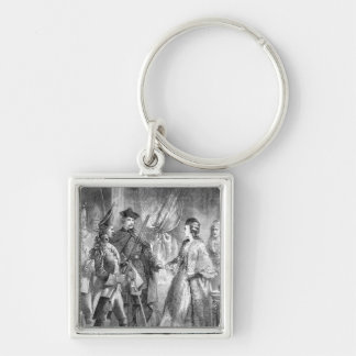 The Arrest of Caroline Matilda Silver-Colored Square Key Ring