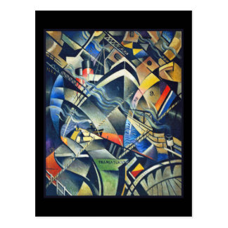 The Arrival by Nevinson with Black Background Postcard