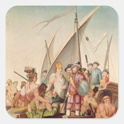 The Arrival of Hernando Cortes  in Mexico Square Sticker
