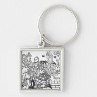 The Arrival of His Majesty Charles (1600-49) Princ Silver-Colored Square Key Ring
