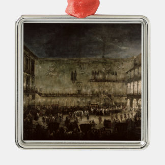 The Arrival of Princess Amelia of Saxony, in a Car Silver-Colored Square Decoration