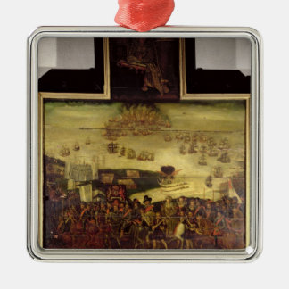 The Arrival of Queen Elizabeth I  at Tilbury Silver-Colored Square Decoration
