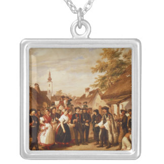 The Arrival of the Bride, 1856 Silver Plated Necklace