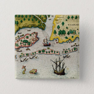 The Arrival of the English in Virginia 15 Cm Square Badge