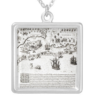 The Arrival of the Englishmen in Virginia Silver Plated Necklace