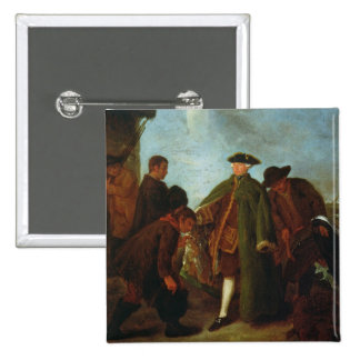 The Arrival of the Nobleman (oil on canvas) 15 Cm Square Badge