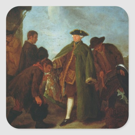 The Arrival of the Nobleman (oil on canvas) Square Sticker