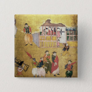 The Arrival of the Portuguese in Japan 2 15 Cm Square Badge