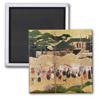 The Arrival of the Portuguese in Japan 3 Square Magnet