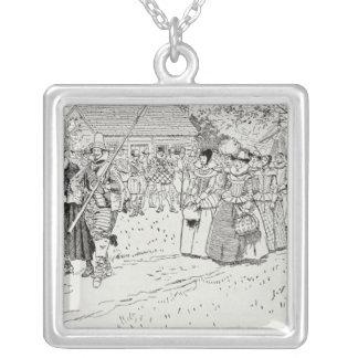 The Arrival of the Young Women at Jamestown Silver Plated Necklace