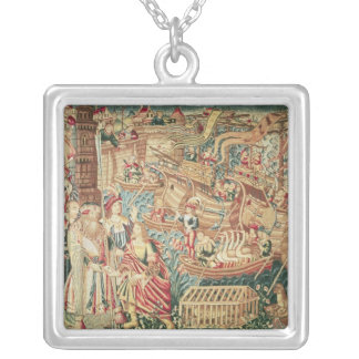 The Arrival of Vasco da Gama  in Calcutta Silver Plated Necklace