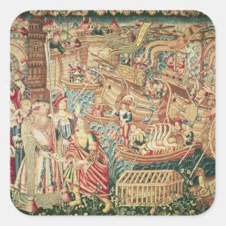 The Arrival of Vasco da Gama  in Calcutta Square Sticker