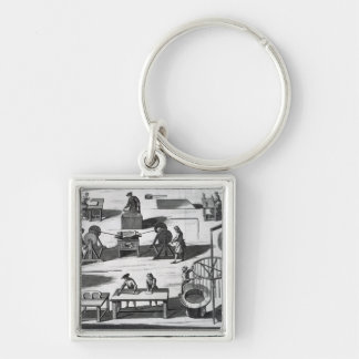 The Art and Mystery of Making Wax and Tallow Silver-Colored Square Key Ring