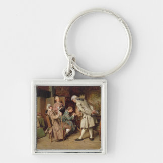 The Art Lovers, or The Painter, 1860 (panel) Silver-Colored Square Key Ring