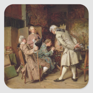 The Art Lovers, or The Painter, 1860 (panel) Square Sticker
