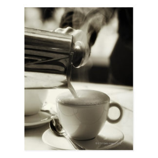 The art of fresh coffee making / adding steamed postcard