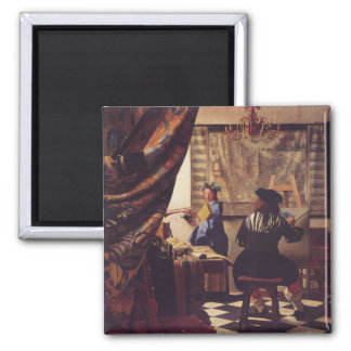 The Art of Painting by Johannes Vermeer Square Magnet
