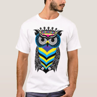 The Art of the Colorful Owl Cosmic Branca T-shirt
