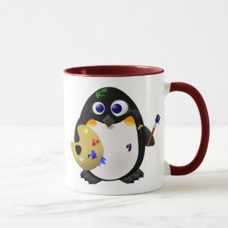 """The Artist"" -- Cute Painter Penguin Mug"