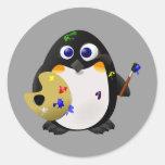 """The Artist"" -- Cute Painter Penguin Round Sticker"