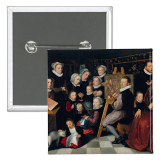 The Artist Painting, Surrounded by his Family 15 Cm Square Badge