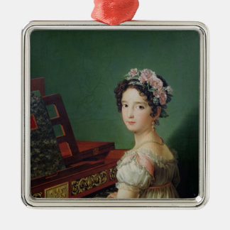 The Artist's Daughter at the Clavichord Silver-Colored Square Decoration