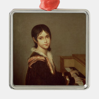 The Artist's Daughter at the Piano Silver-Colored Square Decoration