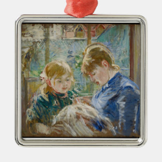 The Artist's Daughter, Julie, with her Nanny Silver-Colored Square Decoration