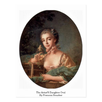 The Artist'S Daughter Oval By Francois Boucher Postcard
