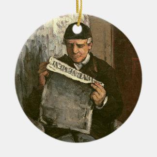 """The Artist's Father, Reading """"L'Événement"""", 1866 Christmas Ornament"""