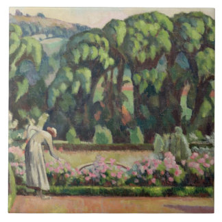 The Artist's Garden at Durbins, c.1915 (oil on can Large Square Tile