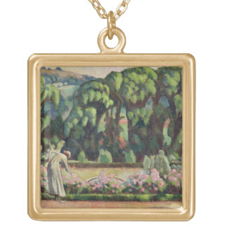 The Artist's Garden at Durbins, c.1915 (oil on can Square Pendant Necklace