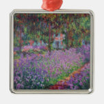 The Artist's Garden at Giverny, 1900 Silver-Colored Square Decoration