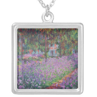 The Artist's Garden at Giverny, 1900 Square Pendant Necklace