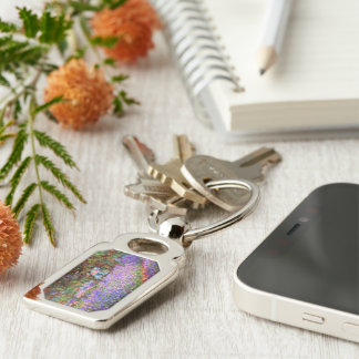 The Artist's Garden at Giverny by Monet Fine Art Silver-Colored Rectangle Key Ring