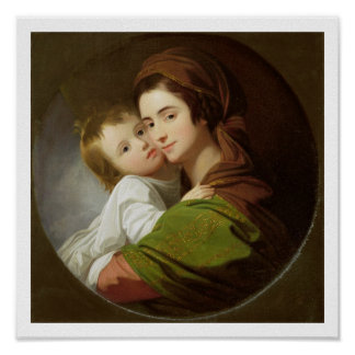 The Artist's Wife, Elizabeth, and their son Raphae Posters